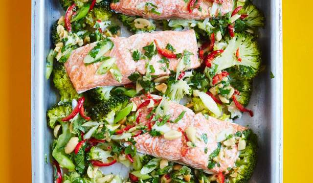 All In One Steam Roasted Salmon Broccoli With Lime Ginger Garlic Chilli