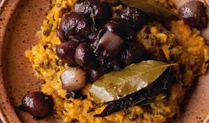 Root Mash with Wine Braised Shallots