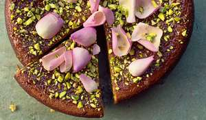 Pear, Pistachio and Rose Cake