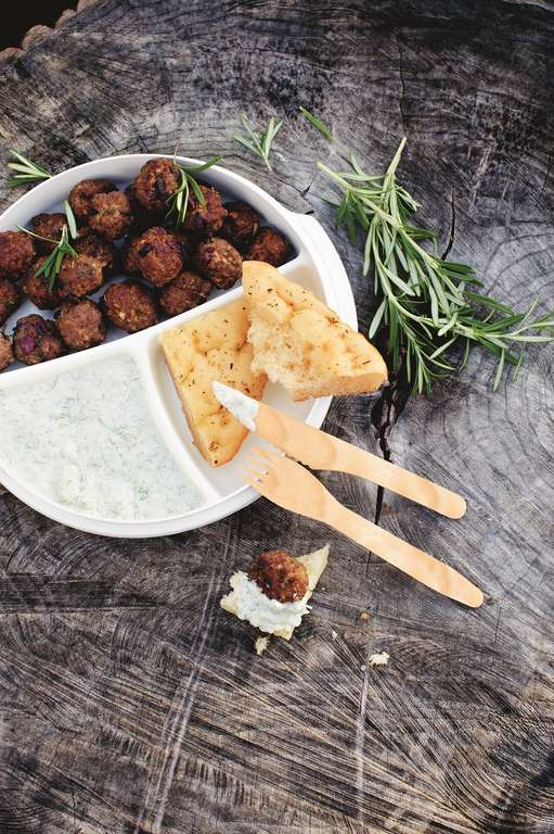 Rosemary and Olive Meatballs with Fennel Tzatziki