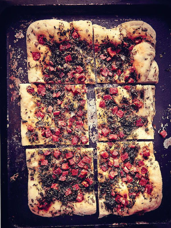 best kale recipes chorizo and kale flatbread ruby tandoh crumb