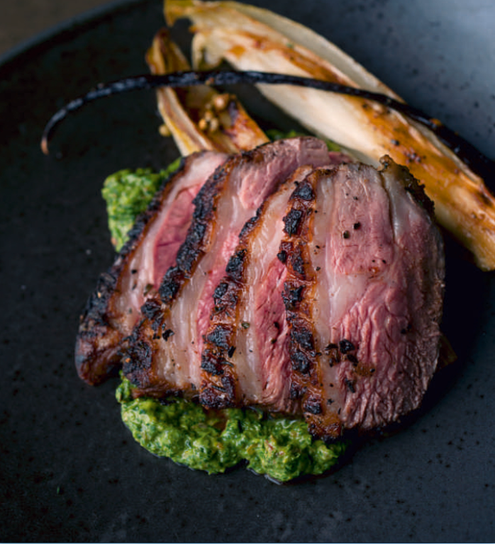 Lamb Rump with Vanilla-Braised Chicory and Sorrel Pesto