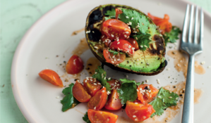 Grilled Avocado and Cherry Tomato with Lime and Coriander