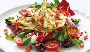 Warm Mediterranean Salad with Braised Fennel and Pancetta Croutons
