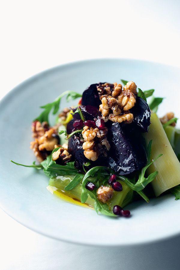 vegetarian christmas starters walnut leek beet salad ottolenghi jerusalem