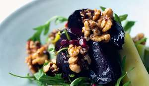 Spicy Beetroot, Leek and Walnut Salad