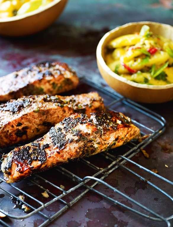 Jerk Barbecued Salmon Steaks with Mango 'Chop Chop' Salad