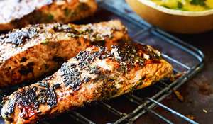 Jerk Barbecued Salmon Steaks with Mango 'Chop Chop' Salad