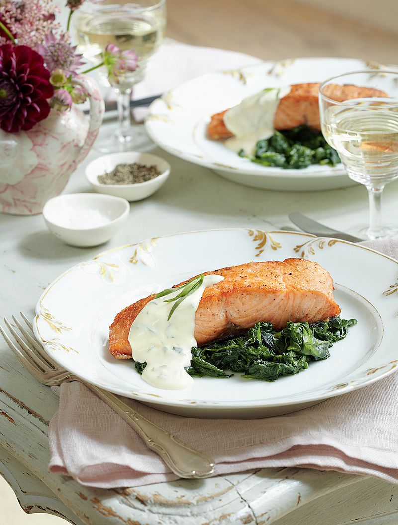 best mary berry salmon recipes salmon fillets on bed of spinach tarragon sauce absolute favourites