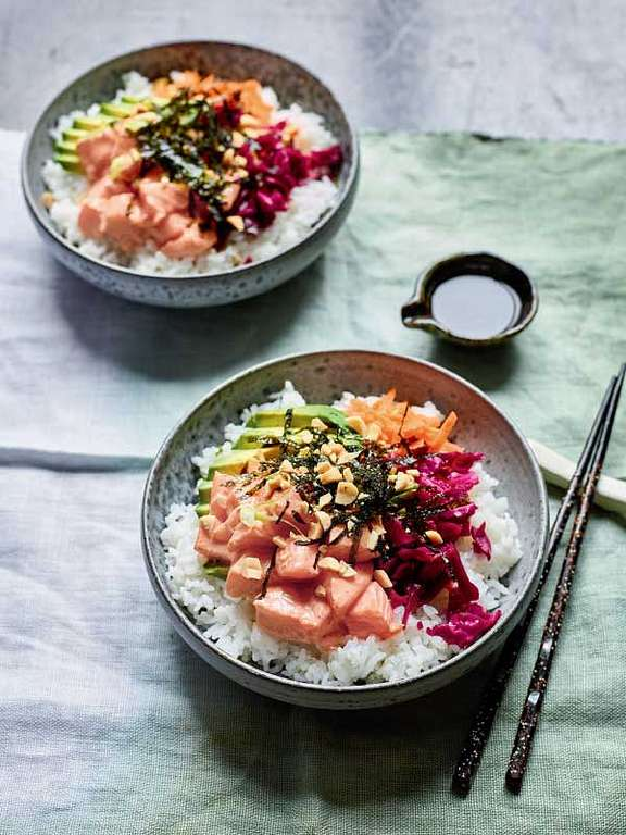 Nadiya Hussain's Black Pepper Poke Salmon Bowl