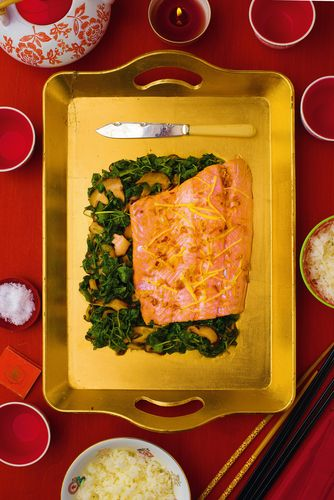 Salmon with Pea Shoots and Oyster Sauce