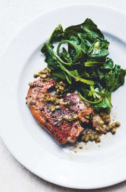 Salt Marsh Lamb Chops with Sherried Capers & Sea Greens