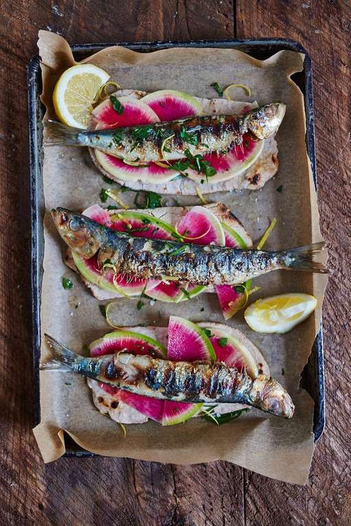Sardines on Buckwheat Flatbreads