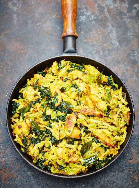Savoy Cabbage, Black Kale and Potato Subji