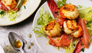 Seared Scallops with Serrano Ham