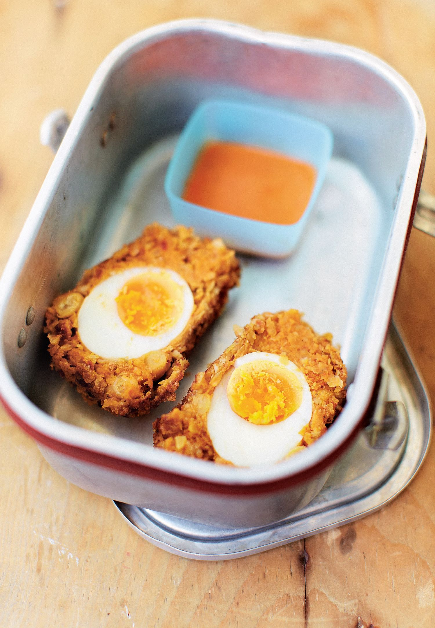 Chickpea, Chorizo and Red Onion Scotch Eggs - The Happy Foodie