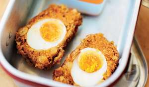 Chickpea, Chorizo and Red Onion Scotch Eggs