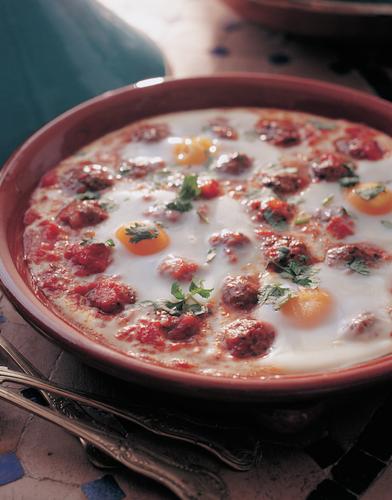 Kefta Mkaouara: Spicy Egg, Meatball and Tomato Tagine - The Happy ...