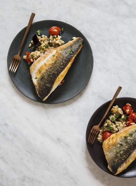 Sea Bass with Tomato, Aubergine and Pearl Barley