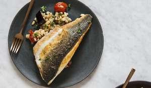 26 Grains Sea Bass with Tomato, Aubergine and Pearl Barley