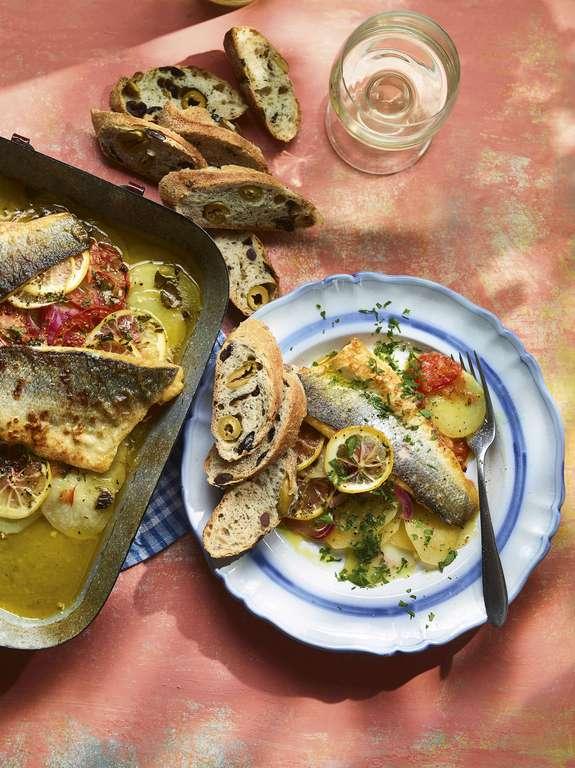 Ainsley Harriott's Mediterranean Sea Bass and Potato Bake
