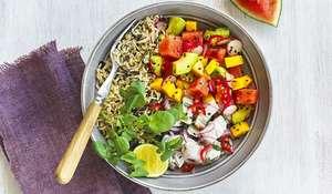 Poke Bowl with Sea Bass, Avocado and Mango