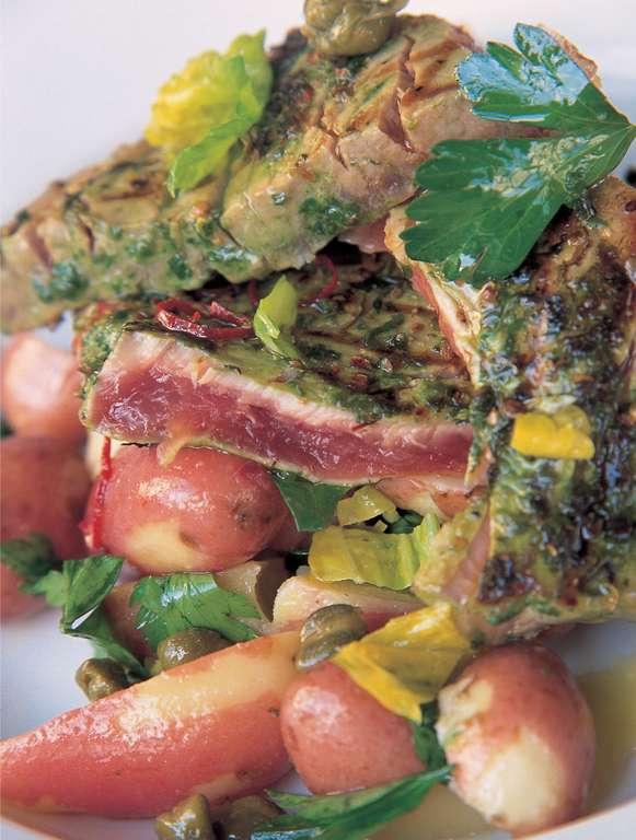 Jamie Oliver's Seared Tuna Steak with Fresh Coriander and Basil