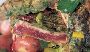 Jamie Oliver's Seared Tuna Steak with Fresh Coriander and Basil Recipe