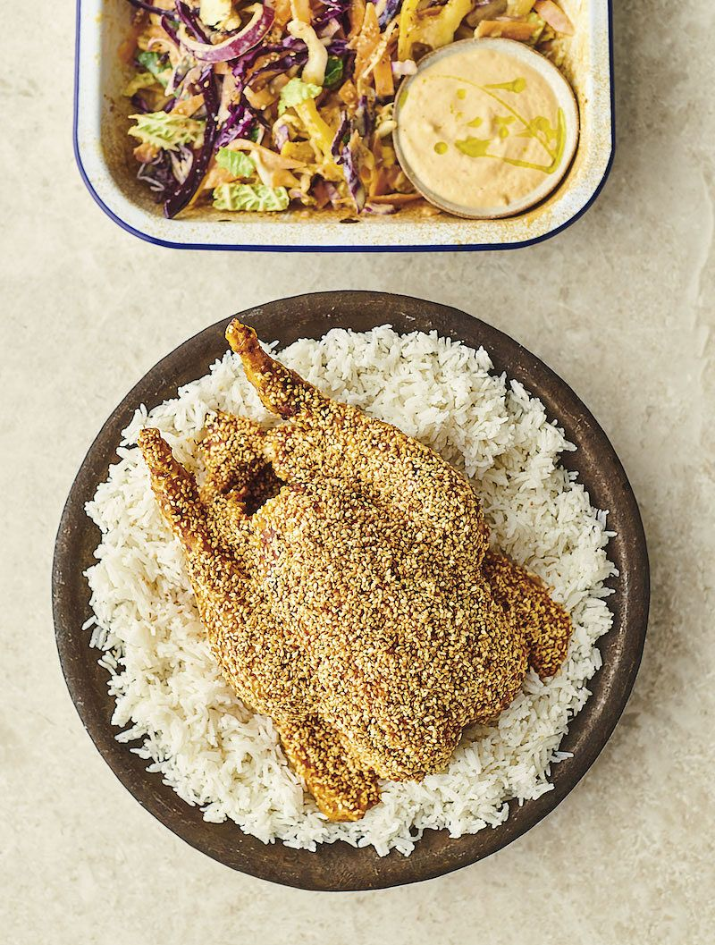 best jamie chicken recipes 7 ways Sesame Chicken with Kimchi and Silken Tofu, Crunchy Veg Slaw