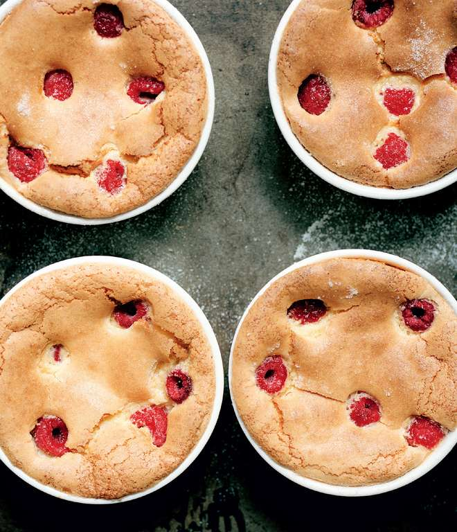 Baked Almond and Raspberry Soufflé Puddings