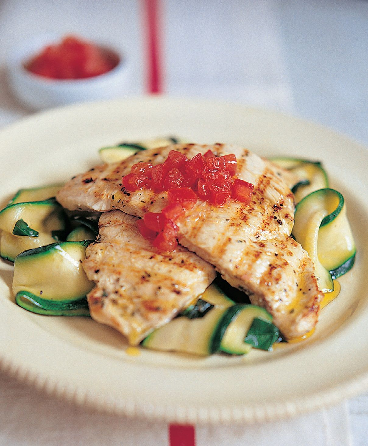 Grilled Marinated Chicken Breast With Courgette Ribbons