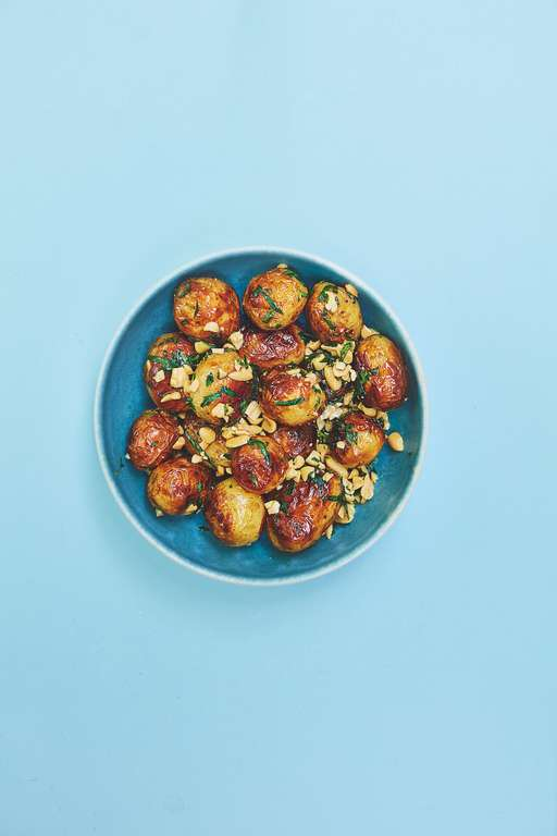 Simple Barbecued New Potatoes with Tarragon, Peanut and Chipotle