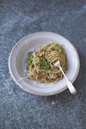 Skinny Carbonara Smoky Bacon, Peas, Almonds and Basil from Jamie Oliver's Everyday Super Food