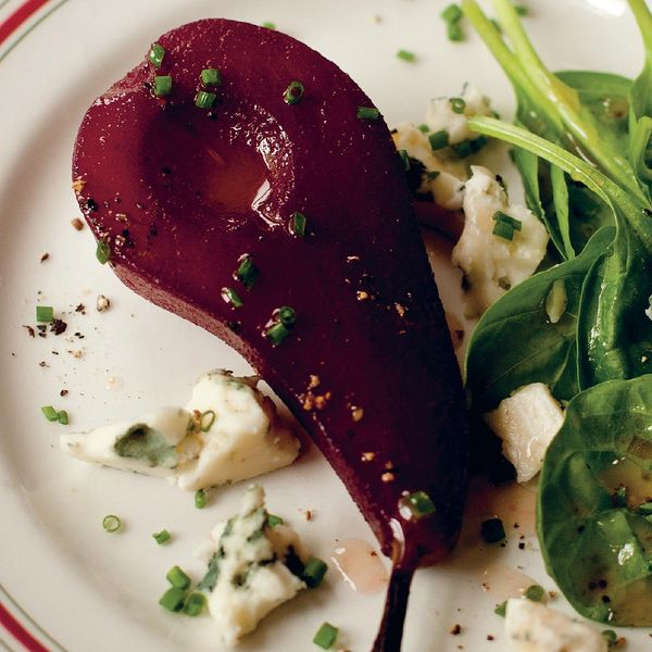 Pears Poached In Red Wine With Roquefort And Spinach Salad