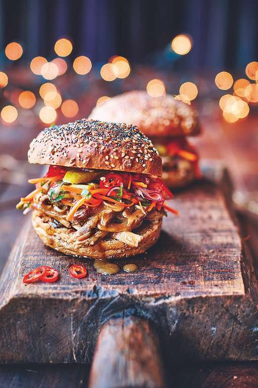 Turkey Sloppy Joes Tasty Slaw with Gherkins & Chilli, Homemade BBQ Sauce