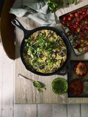 Slow-Baked Artichoke Frittata, Watercress Pesto and Slow-Roast Tomatoes from The New Vegetarian