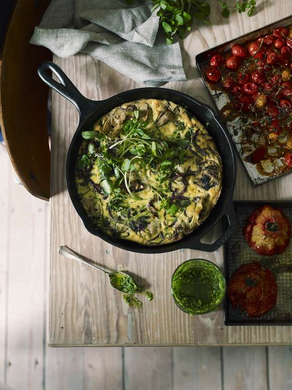 Slow-Baked Artichoke Frittata, Watercress Pesto and Slow-Roast Tomatoes