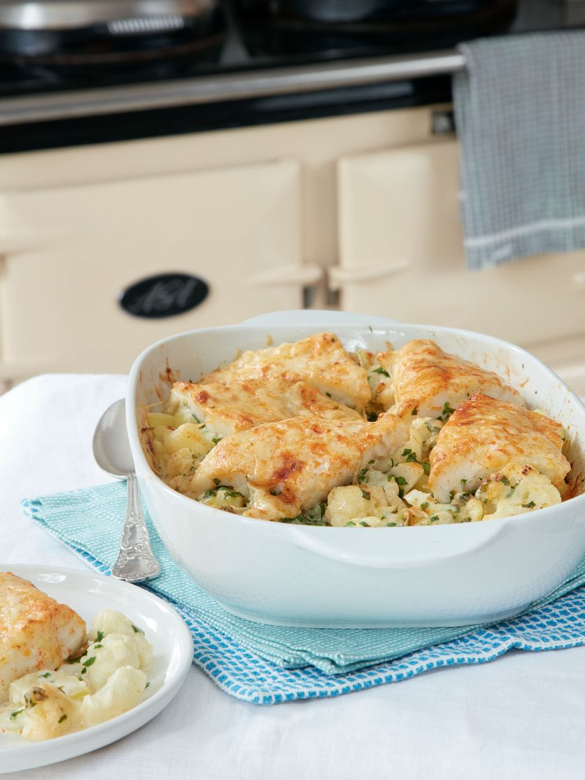 Mary Berry Comfort Food Smoked Haddock and Cauliflower Gratin Recipe