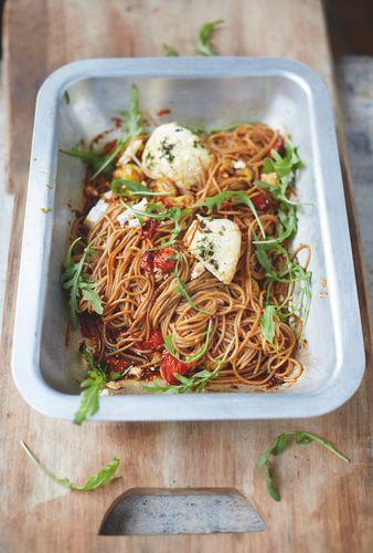 Spelt Spaghetti Vine Tomatoes and Baked Ricotta - Jamie Oliver's Everyday Super Food