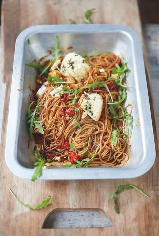 Superfood Spaghetti Vine Tomatoes and Baked Ricotta
