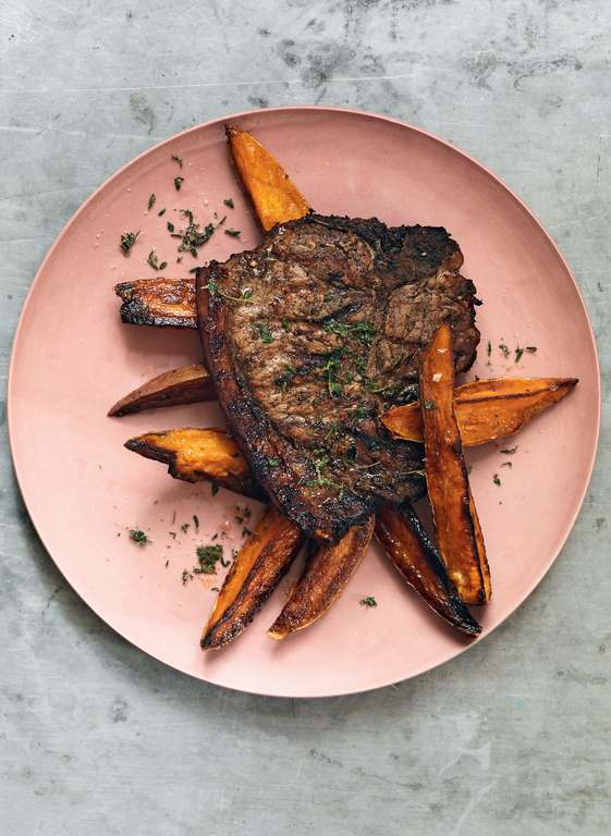 Jerk-spiced Pork Chops with Sweet Potato Wedges and Thyme Salt