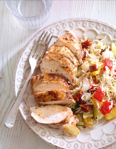 Spiced chicken with roasted vegetable rice from Eat Well For Less Cookbook