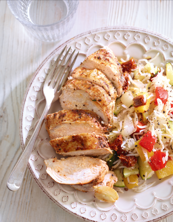 Spiced chicken with roasted vegetable rice