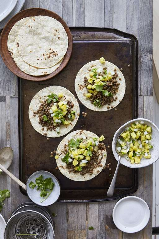 Spiced Lentil Tacos with Grilled Pineapple Salsa