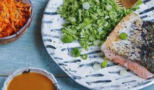 Spicy Miso Salmon with Broccoli Rice from Good + Simple