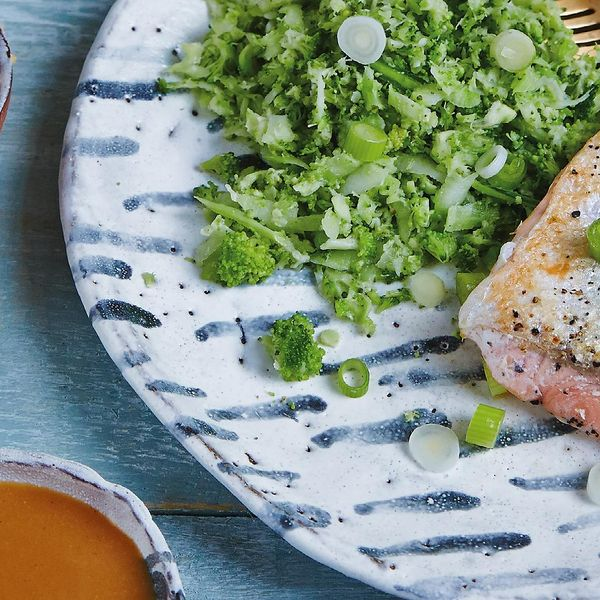 Spicy miso salmon with broccoli rice the happy foodie for Fish and broccoli diet