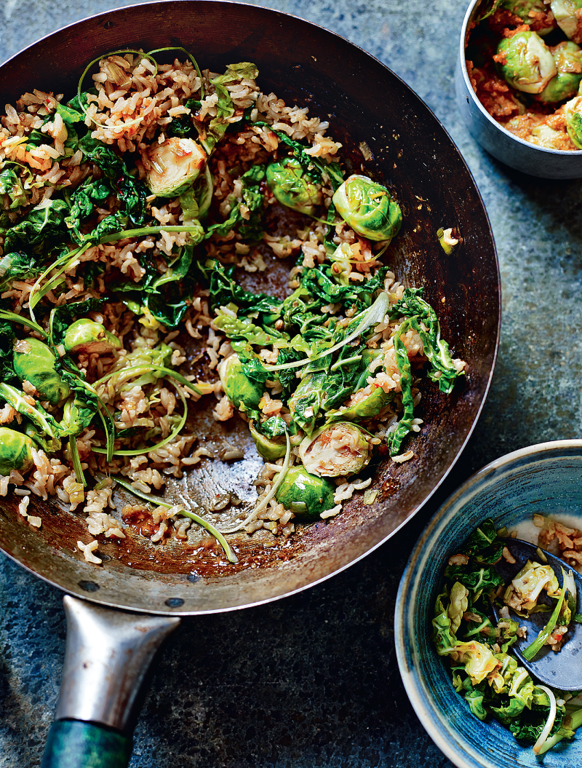 Korean Brown Rice and Brussels Sprouts