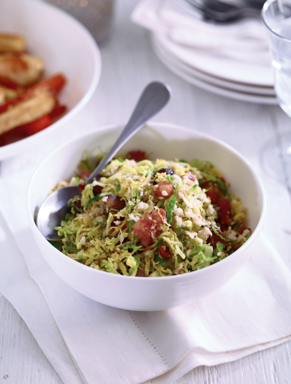 Shredded sprouts with chestnuts and bacon