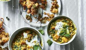Spinach, Squash and Sweet Potato Dhal with Cauliflower and Spinach Pakora