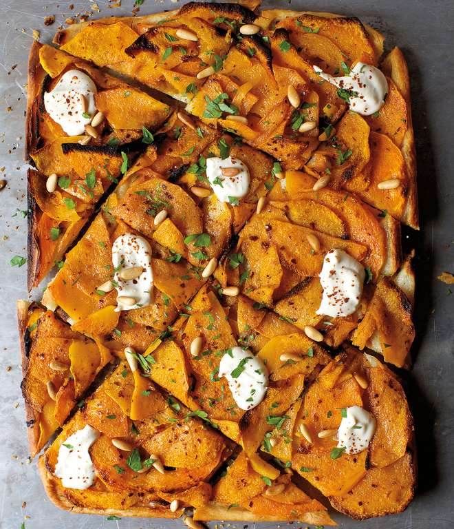 Winter Squash Flatbread with Hummus and Za'atar